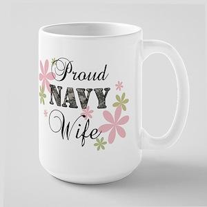 Navy Wife [fl camo] Large Mug